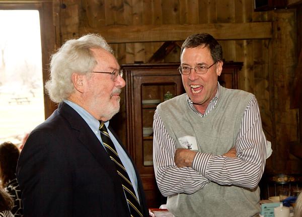 SAM HOUSEHOLDER   THE GOSHEN NEWS<br /> John Kendall, left, talks with Chuck Burns of Utilimaster during the Nappanee Chamber of Commerce Annual Appreciation Dinner.