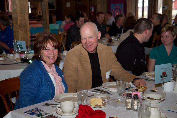 SAM HOUSEHOLDER | THE GOSHEN NEWS<br /> Maralie Stutzman, left and husband Mel, AppleFest board memebrs smile during the Nappanee Chamber of Commerce Annual Appreciation Dinner.