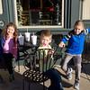 SAM HOUSEHOLDER | THE GOSHEN NEWS<br /> From left, Briana Koontz, 6, Trevin Koontz, 5 and Josiah Kirkton, 6 enjoy the sunshine during the Goshen open house Sunday.
