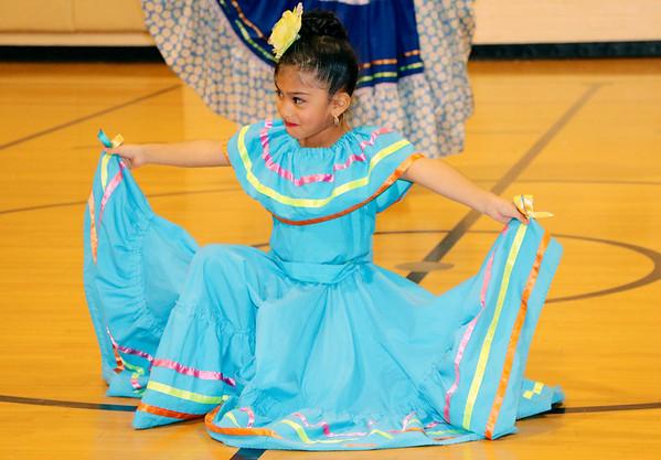 SHERRY VAN ARSDALL | THE GOSHEN NEWS Lopita Muñoz, a student at St. John the Evangelist Catholic School performed during an Hispanic Heritage Celebration at Chandler Elementary School Saturday.
