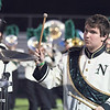 STACEY DIAMOND | THE GOSHEN NEWS<br /> Wyatt Tiffany, a pit percussionist for the Northridge Marching Raiders, performs Saturday during the marching band invitational at Concord High School.