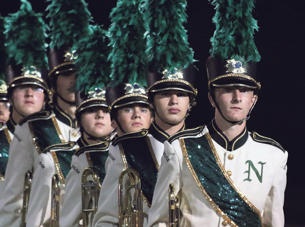 STACEY DIAMOND | THE GOSHEN NEWS<br /> Trombone players from Northridge High School make theit way onto the field Saturday during the marching band invitational at Concord High School.