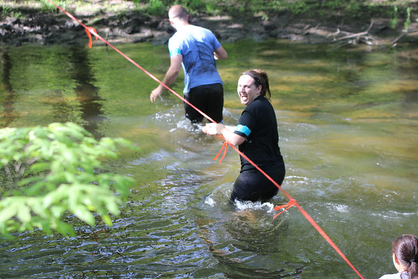SHERRY VAN ARSDALL   THE GOSHEN NEWS<br /> Rosemary Andrews found the river cross to be cold during The Cops for Kaleb 5K obstacle run was held Saturday at Cop'er Canyon in Bristol. The event was a fundraiser for 3-year-old Kaleb Cole, the only child in Indiana who was born with Leigh's disease. He is the son of Michael and Krysta Cole. Michael is a sergeant with the Elkhart County Sheriff's Department.