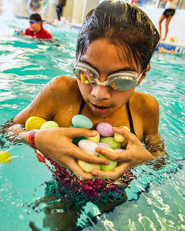JAY YOUNG | THE GOSHEN NEWS<br /> With her basket on the other side of the pool, Jackie Sixtos, 11, of Goshen, tries to gather as many eggs as possible before heading back during the second annual Easter egg hunt at Shepard Swim School in Elkhart.