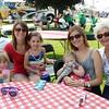 Carly Sensenig, 3, Amanda Sensenig ( Goshen)  holding Macy Skeeters, 4, Emily Skeeters holding Clara Skeeters 1 , Jan Johnson (Goshen). The Skeeters are from Indianapolis.