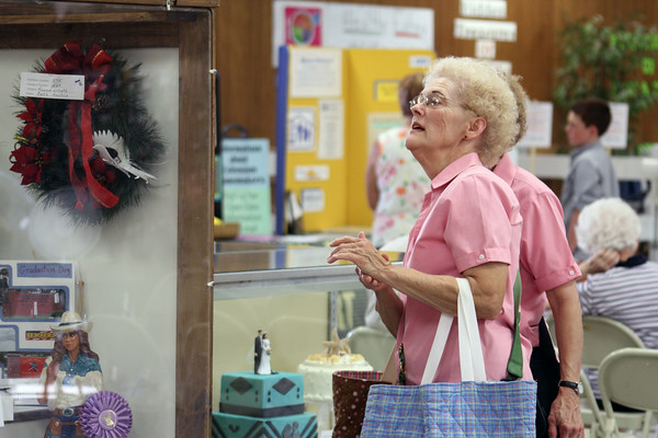 JULIE CROTHERS | THE GOSHEN NEWS<br /> <br /> Cherry Boyd, of Culver, and her twin sister Carolynn Riddle, of Goshen, visited the Elkhart County 4-H Fair for Senior Citizen Day. Both sisters also entered multiple projects in the open class exhibits.