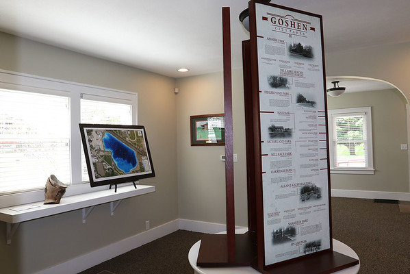 SHEILA SELMAN   THE GOSHEN NEWS<br /> The interior of the Wayne Wogoman Welcome Center gives visitors a glimpse of Goshen's past, plus its current features.