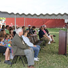 SHEILA SELMAN | THE GOSHEN NEWS<br /> Goshen Mayor Jeremy Stutsman addresses the crowd gathered for the dedication of Fidler Pond Park Saturday morning. Between 200 and 250 people attended the event.