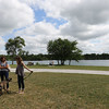 SHEILA SELMAN | THE GOSHEN NEWS<br /> Fidler Pond Park dedication attendees enjoy the day at the park Saturday morning.