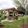 SHEILA SELMAN | THE GOSHEN NEWS<br /> This pavilion at Fidler Pond Park, next to the Wayne Wogoman Welcome Center, was erected by the Lincoln Highway Association.