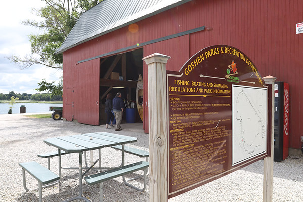 SHEILA SELMAN | THE GOSHEN NEWS<br /> The barn at Fidler Park Pond is staffed during normal park hours and is where people can rent kayaks, canoes and pedal boats.