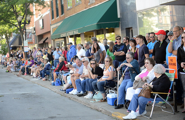 HALEY WARD | THE GOSHEN NEWS<br /> A large crowd gathers to watch cars drive down Main Street during First Fridays Cruisin' Reunion on Friday.
