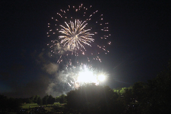 JOHN KLINE | THE GOSHEN NEWS<br /> Fireworks explode over Black Squirrel Golf Course in Goshen Sunday night to celebrate the 4th of July.