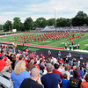 Haley Ward | The Goshen News<br /> The stands filled with Goshen RedHawks fans as they take a look at the new artificial turf covering Foreman Field before the first football game of the year Friday night.