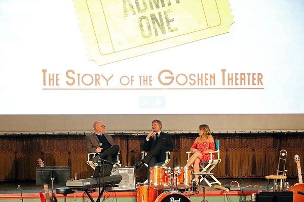 LYNNE ZEHR| THE GOSHEN NEWS<br /> Goshen College professor David Kendall, Producer Kyle Hufford and Director Riley Mills answer questions after the viewing of Admit One.
