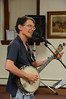 Tom Sieling of Newfield, NY plays the banjo at the Adams Free Library on Tuesday July 30, 2013 during a performance entitled 'Howl at the Moon.' The musical presentation was sponsored by the library's summer reading program which is themed, 'Dig into Reading.' (Gillian Jones/North Adams Transcript)