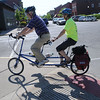 HALEY WARD | THE GOSHEN NEWS<br /> Participants ride a tandem bicycle during the Mayors Ride on Monday outside City Hall. Mayor Jeremey Stutsman held the event with former-mayors Allan Kauffman and Mike Puro.