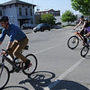 HALEY WARD | THE GOSHEN NEWS<br /> Mayor Jeremy Stutsman rides his bike with his wife and daughter following behind during the Mayors Ride on Monday outside City Hall. The event kicked off Bicycle-to-Work Week, which goes until May 27.