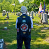JAY YOUNG | THE GOSHEN NEWS<br /> Korean War veteran and member of the American Legion Mark L. Wilt Post 210, Bob Yoder, stands silent as he watches a Memorial Day ceremony at Grace Lawn Cemetery Monday morning in Middlebury.