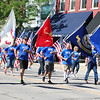 SHEILA SELMAN | THE GOSHEN NEWS<br /> Grace Community Church's entry into the Memorial Day parade in Goshen was led by veterans Monday.