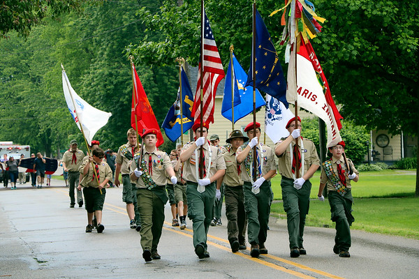 SHERRY VAN ARSDALL | THE GOSHEN NEWS<br /> Scouts in New Paris Boy Scouts Troop 12 led the parade before the Memorial Day services in New Paris Cemetery in New Paris Sunday.