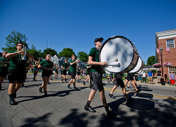 JAY YOUNG | THE GOSHEN NEWS<br /> Members of the Northridge High School marching band march down Main Street during a Memorial day parade in downtown Middlebury Monday morning.