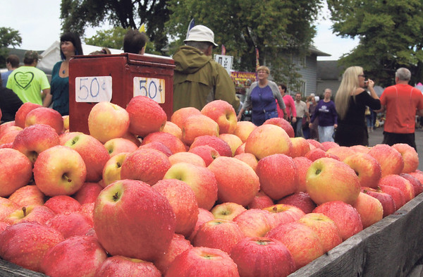 JULIE CROTHERS BEER | THE GOSHEN NEWS<br /> Nappanee Apple Festival visitors walk past a display of apples for sale during Saturday's activities.