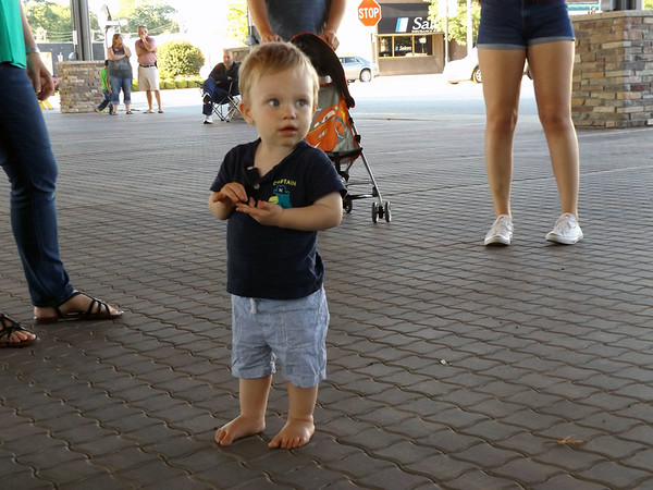 DENISE FEDOROW | THE GOSHEN NEWS<br /> 18-month-old Jaxon Berger was enjoying the band, Mr. Z, who played at the downtown pavilion Saturday night during Nappanee's Embrace the Pace Days. Jaxon clapped for the band. His mom said she enjoyed the small town feel and the fact that Embrace the Pace provided something the family could enjoy along with the beautiful weather.
