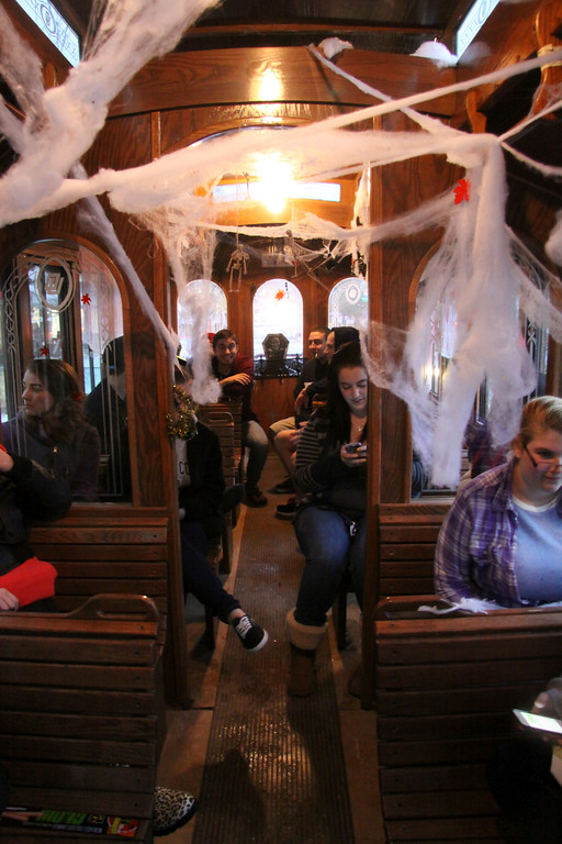 """. MCLA Students take a ride on  the \""""Haunted Trolley\""""  during DownStreet Arts\' Fright Night on Thursday, Oct. 31, 2013. (Holly Pelczynski/Berkshire Eagle Staff)"""