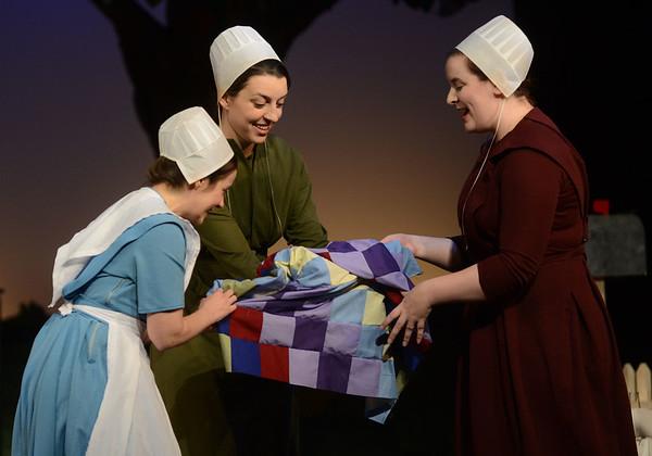 HALEY WARD | THE GOSHEN NEWS<br /> Kaitlyn Casanova, Abby Murray Vachon and Jordan Tudor perform during Plain and Fancy rehersals on Tuesday at the Round Barn Theatre.