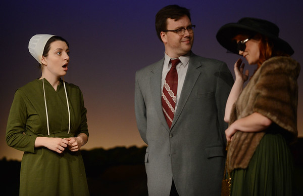 HALEY WARD | THE GOSHEN NEWS<br /> Abby Murray Vachon, who plays Hilda, reacts to meeting Rory Dunn, as character Dan King and Kayla Ricker as character Ruth Winters during rehersals for Plain and Fancy on Tuesday at the Round Barn Theatre.