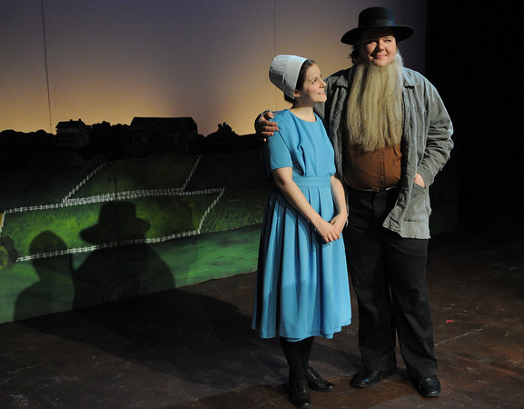 HALEY WARD | THE GOSHEN NEWS<br /> Kaitlyn Casanova as character Katie and Nick Wheeler as character Papa Yoder perform in Plain and Fancy rehersals Tuesday at the Round Barn Theatre.