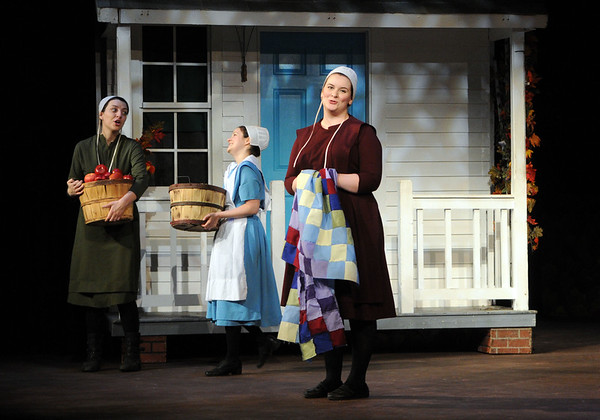 HALEY WARD | THE GOSHEN NEWS<br /> Abby Murray Vachon, Kaitlyn Casanova and Jordan Tudor perform in Plain and Fancy rehersals Tuesday at the Round Barn Theatre.