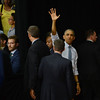 HALEY WARD | THE GOSHEN NEWS<br /> President Barack Obama waves to the crowd one final time on Wednesday at Concord High School.