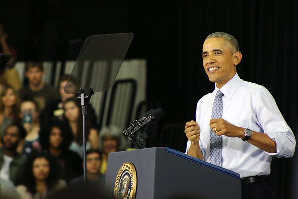 LYNNE ZEHR | THE GOSHEN NEWS<br /> President Obama speaks at Concord High School.