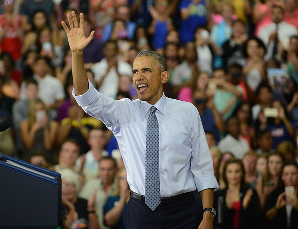 HALEY WARD | THE GOSHEN NEWS<br /> President Barack Obama waves to the crowd following his speech Wednesday at Concord High School.