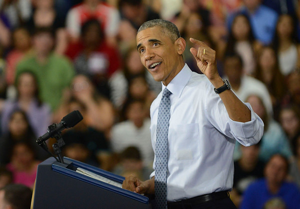 HALEY WARD | THE GOSHEN NEWS<br /> President Barack Obama speaks Wednesday at Concord High School.