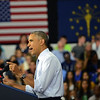 HALEY WARD | THE GOSHEN NEWS<br /> President Barack Obama speaks to a crowd Wednesday at Concord High School.