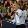 HALEY WARD | THE GOSHEN NEWS<br /> President Barack Obama speaks Wednesday at Concord High School.