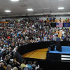HALEY WARD | THE GOSHEN NEWS<br /> The crowd waits for President Barack Obama to come on stage during his visit to Concord High School on Wednesday.
