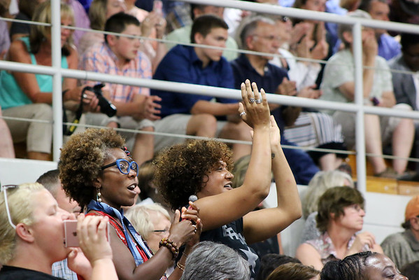 LYNNE ZEHR | THE GOSHEN NEWS<br /> Michele Fanfair-Steury and Anne Berry cheer during the president's remarks.