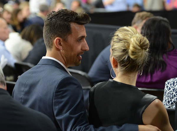 HALEY WARD | THE GOSHEN NEWS<br /> Mayor Jeremy Stusman and his wife Maija chat before President Barack Obama's visit to Concord High School on Wednesday.