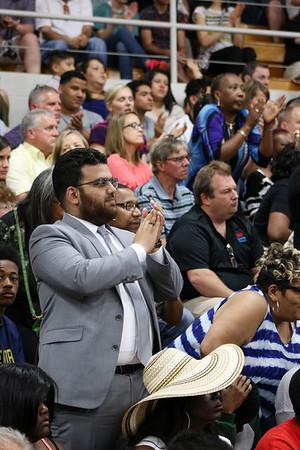 LYNNE ZEHR | THE GOSHEN NEWS<br /> The crowd reacts during President Obama's speech.