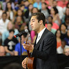 "HALEY WARD | THE GOSHEN NEWS<br /> Alex Acosta performs ""This Land is Your Land""  before President Barack Obama's visit to Concord High School on Wednesday."
