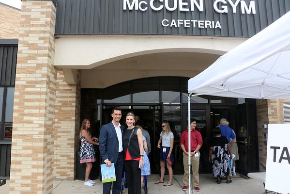 LYNNE ZEHR | THE GOSHEN NEWS<br /> Goshen Mayor Jeremy Stutsman and wife Maija arrive at Concord High School.