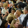 HALEY WARD | THE GOSHEN NEWS<br /> President Barack Obama shakes hands with supporters following his speech Wednesday at Concord High School.