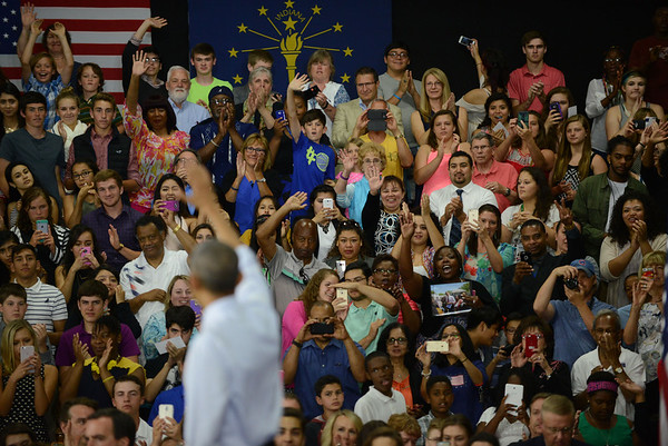 HALEY WARD | THE GOSHEN NEWS<br /> Supporters react to President Barack Obama's speech Wednesday at Concord High School.