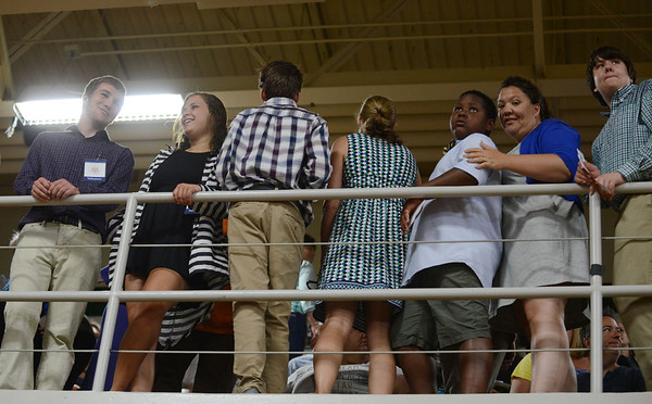 HALEY WARD | THE GOSHEN NEWS<br /> Supporters fill up the balcony before President Barack Obama's speech Wednesday at Concord High School.