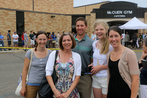 LYNNE ZEHR | THE GOSHEN NEWS<br /> Andrea Milne, Julia King, Tim Koontz, Haley Kirkton and Sarah Koontz arrive at Concord High School.