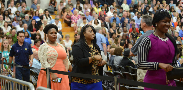 HALEY WARD | THE GOSHEN NEWS<br /> People file in during President Barack Obama's visit to Concord High School on Wednesday.